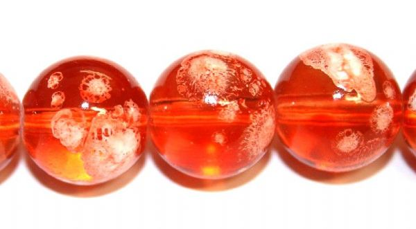 30pieces x 14mm Orange colour round shape bubble gum glass beads / speckled glass beads